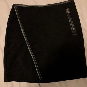 Leather trim mini skirt